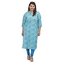 DamyantiiWomen's Plus Size Straight Blue Cotton XXL Kurta