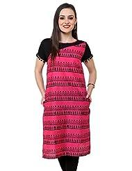 Pannkh Pink Border Print Lace Kurti