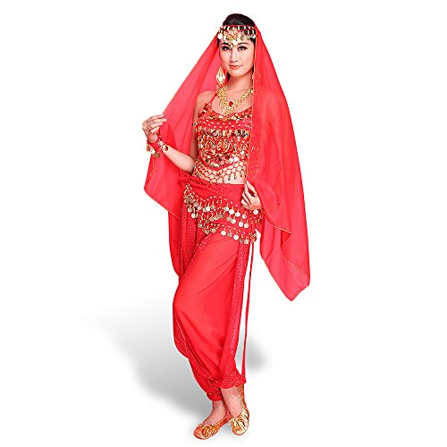 SymbolLIfe Lady's Womens Belly Indian Dance Chiffon Banadge Top With Chest Pad + Short Pants Hanging Bells and Coins One Size with Large Head Scarf