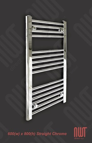 600 x 800 Heated Towel Rail / Radiator / Warmer - Straight Chrome 1624 BTU's
