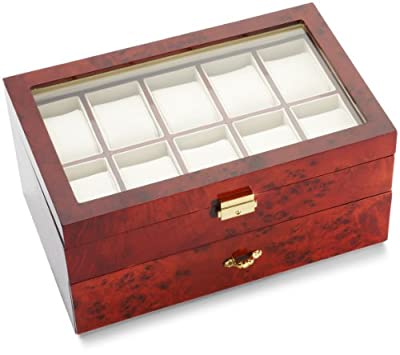 Diplomat Burl Wood 10 Watch and Pen Storage Chest