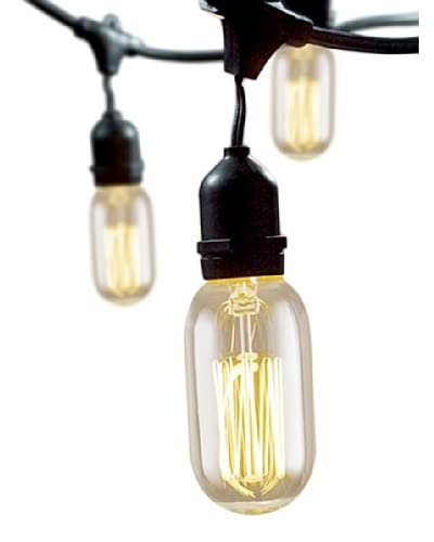 Bulbrite Nostalgic Tubular Antique Thread 15-Light Outdoor String, Vintage Amber