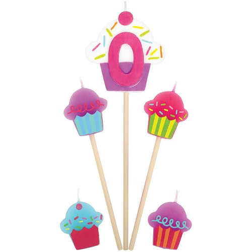 """0"" Birthday Cupcake Pick Candles"