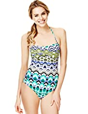 Tummy Control Hawaiian Print Bandeau Swimsuit
