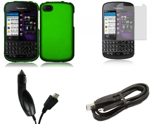 Blackberry Q10 - Premium Accessory Kit - Dark Green Hard Cover Case + Atom Led Keychain Light + Screen Protector + Micro Usb Cable + Car Charger