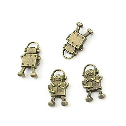 5 pieces Anti-Brass Fashion Jewelry Making Charms 1661 Robot Wholesale Supplies Pendant Craft DIY Vintage Alloys Necklace Bulk Supply Findings Loose (Robots Bulk compare prices)