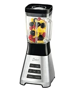Oster 600 Watt Pre Programmed Square Jar 6 Cup Blender with Chop and Grind Stainless Steel Blade