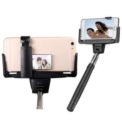 【日本語説明書付属・リアミラー搭載】 スマホ自撮り用一脚 SelfieStick(セルフィースティック) iPhone6Plus対応 イヤホン接続だからBluetoothも充電も不要!モノポッド セルカ棒 【2015年新商品】 (ブラック)