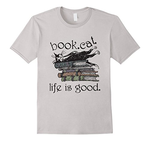Men's Tshirt | Book Cat Life Is Good | 2016 3XL Silver (Life Is Good 3x compare prices)