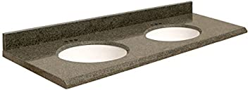 Samson G61222-F3-E-W-4 Granite Vanity Top with Single Undermount White Bowl and 4-Inch Beveled Edge, Sea Green