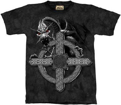 The Mountain Celtic Cross Dragon Adult Tee T-Shirt Xxx-Large front-449451
