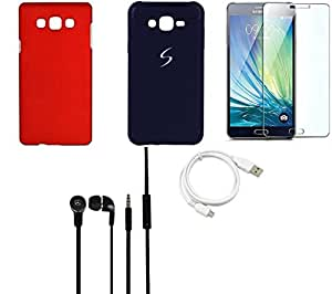 NIROSHA Tempered Glass Screen Guard Cover Case Headphone USB Cable car for Samsung Galaxy ON5 - Combo