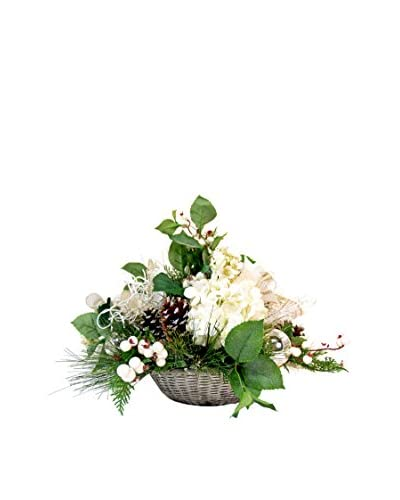 Creative Displays Winter Floral And Ornament Ball Basket, White/Silver/Green