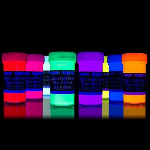 neon-nights-Fluoreszierende-Schwarzlicht-Farben-fr-Kunst-und-Wohnraum-Leuchtfarben-mit-Glow-Effekt-unter-UV-Licht-8-x-50ml-Neon-Farben