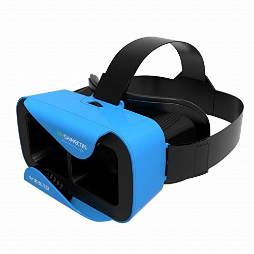 """VR Shinecon 3D Virtual Reality Glasses Headset W Adjustable Head Band Strap for 4.7"""" to 6.0 """" Inches Smartphones [IMAX 3D Movies / Immersive VR Gaming] (Blue)"""