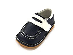 HLT Toddler/Little Kid Boy Fisherman Loafer Navy Squeaky Shoe [US 4 / EU 20]