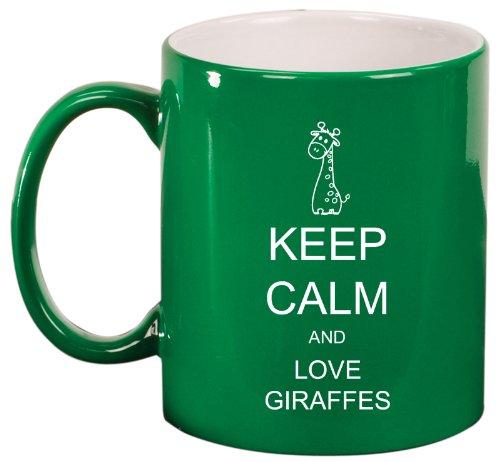 Keep Calm And Love Giraffes Ceramic Coffee Tea Mug Cup Green