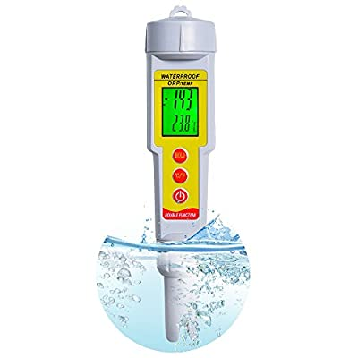 ORP Meter, RISEPRO® Digital Water Quality Meter ORP Temperature Multi-tester Redox Tester -1999mV to 1999mV Aquarium Thermometer Pen-type Replaceable Probe Swimming Pool Sewage Detection