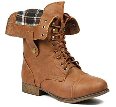 New Womens Tan Combat Boots Pictured Legend8 Leatherette Military Combat