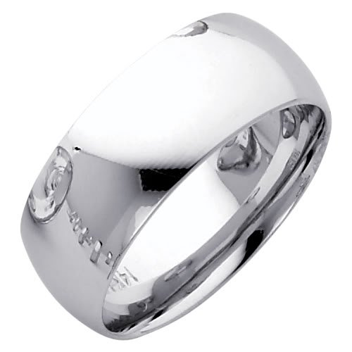 14K White Gold 8mm COMFORT FIT Plain Wedding Band Ring for Men & Women (Size 5 to 12) - Size 12