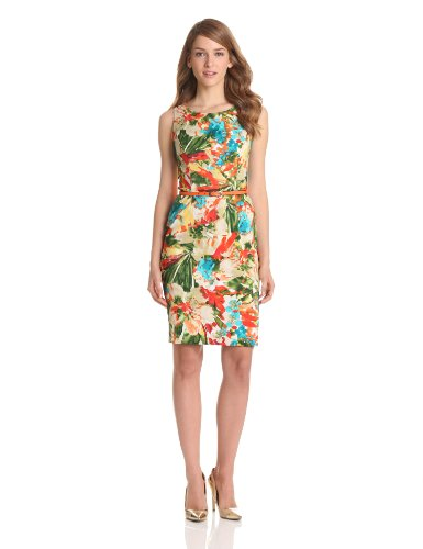 Evan Picone Women's Sleeveless Floral Dress, Clementine Combo, 12