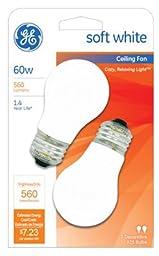 GE Lighting 14029 2 Pack 60W White Ceiling Fan Light Bulbs - Quantity 24 Packs