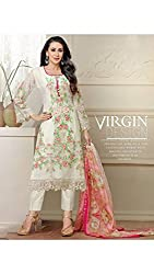 Cream Georgette Semi Stitched Suit by Bansi Fashion