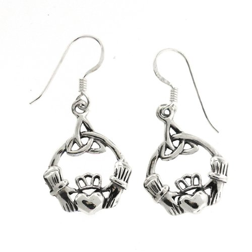 .925 Sterling Silver Nickel Free Holy Trinity Knot Irish Claddagh French Hook Earrings
