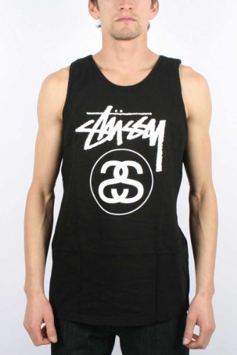 Stussy - Mens Stock Link Tank Top In Black/White