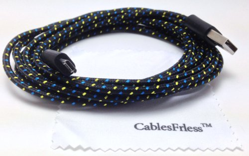 Cablesfrless 6Ft Braided Durable High Quality Micro B Usb Charging / Data Sync Cable Fits Android Devices Samsung Galaxy S4 S3 Google Nexus Amazon Kindle Hd Htc Lg G2 Pantech Blackberry Motorola Moto X Sony Zte Tablets Etc (Black)