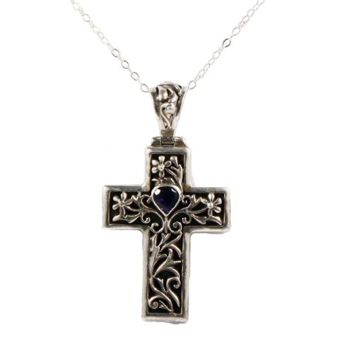 Sterling silver cross pendant necklace with heart-shaped iolite on 18