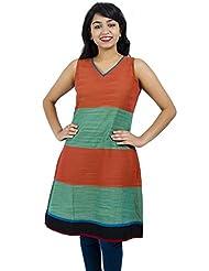 Simply Sapnaa's Women's Cotton Printed Half Sleeve Kurti (Orange)