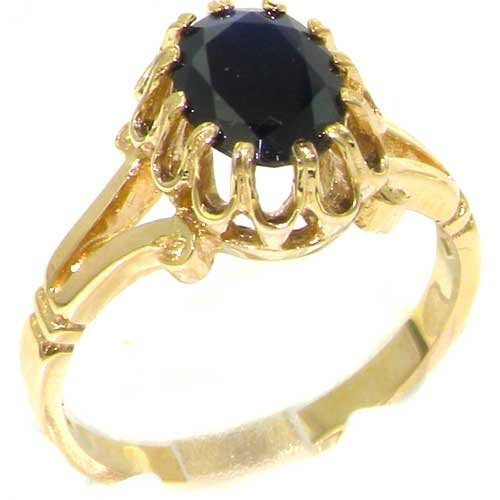 Luxurious Solid Yellow Gold Natural Sapphire Womens Solitaire Engagement Ring - Size Y 1/2 - Finger Sizes J to Z Available - Suitable as an Anniversary ring, Engagement ring, Eternity ring, or Promise ring