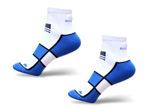 Mens Two Pair Pack RunBreeze Cushioning Ankle Length Running Socks Blue