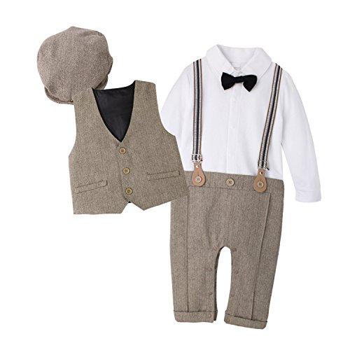 DecStore Baby Junge Gentleman Bodysuit Krawatte Romper Kleidung Suit mit Hut braun 70