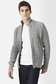Wool Cable Textured Full Zip Sweater