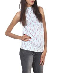 Rajrang Cotton White, Pink Screen Printed Tunic Top, Size: L