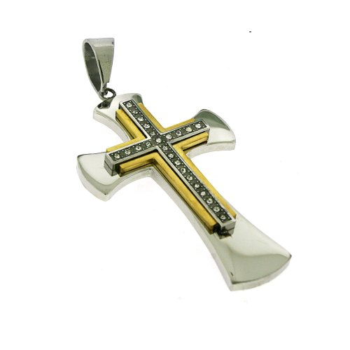 Two Tone Stainless Steel Double Cross CZ Pendant