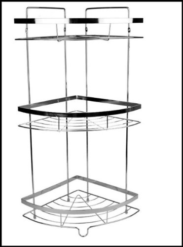 Free standing 3 tier chrome corner shelf wall mounted shower bathroom caddy rack