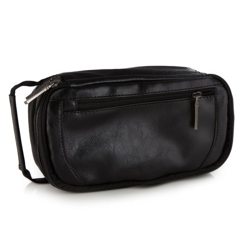 Jeff Banks Designer Black Double Zipped Wash Bag