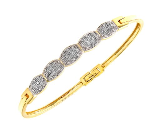 9ct Yellow Gold Quarter Carat Diamond Oval Link Pave Set Bangle