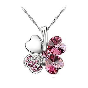 Le Premium® Four Leaf Clover Pendant Necklace Heart Shaped SWAROVSKI Rose Pink Crystals