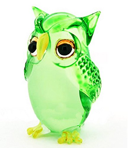 Lampwork COLLECTIBLE MINIATURE HAND BLOWN Art GLASS Single Owl Green FIGURINE