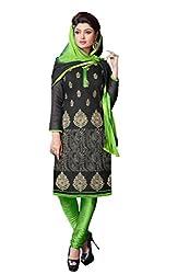 Suchi Fashion Black & Green Embroidered Cotton Dress Material