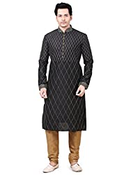 Emuze Ethnic Kurta Pyjama Black Color Mens Set- FCKS_9283_BK_36