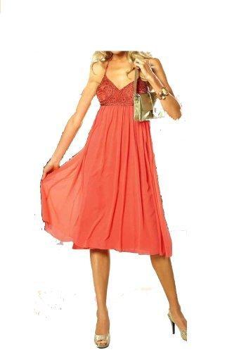APART Babydoll-Abendkleid, hummer-gold Kleid Cocktailkleid Neu Gr. 32 - 46 Größe: 34 XS