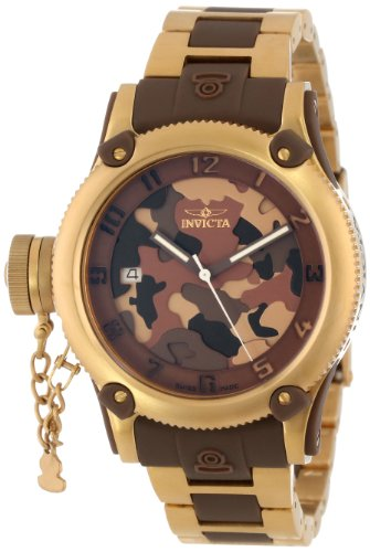 Invicta Womens 11530 Russian Diver Brown Camouflage Dial 18k Gold Ion-Plated Stainless Steel Watch<br />