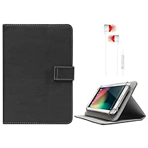 DMG Protective 7in Flip Book Cover Case for Lenovo A3500 (Black) + White Stereo Earphone with Mic and Volume Control