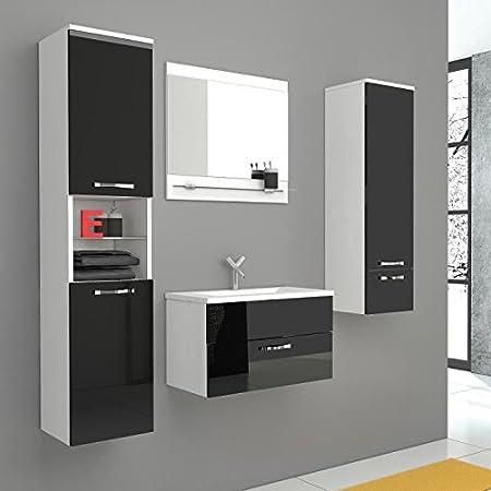 Adel salle de bain complete simple vasque 60 cm - laqué noir brillant et blanc