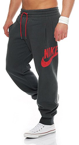 Nike Uomo Pantaloni felpati Pile Pantaloni Tuta Jogging Lato Logo Con risvolto Pantalone Nero/Carbone S M L XL Nuova 510844 060 010 - Carbone, S